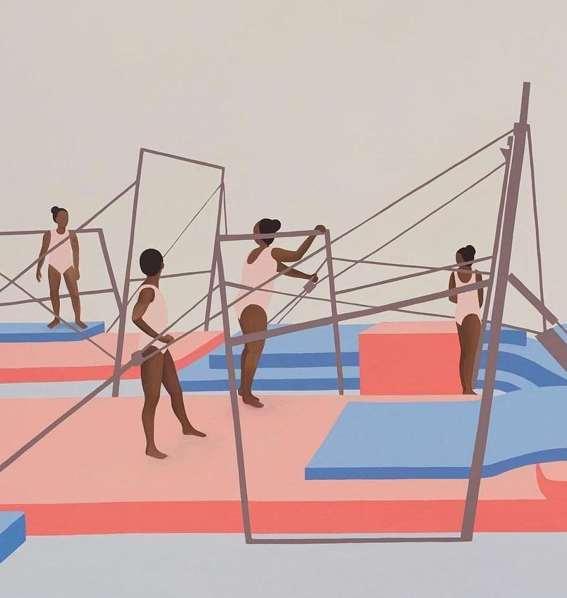 Thenjiwe Niki Nkosi dél-afrikai-amerikai festő és multimédiás művész Trials című 2020-as festménye