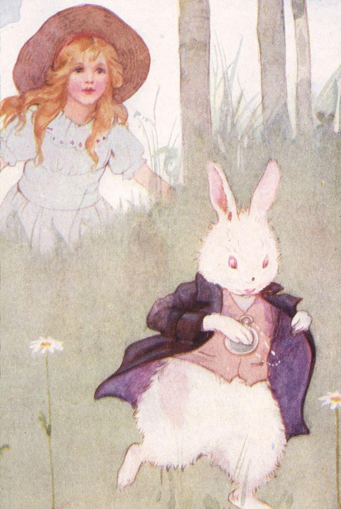 Alice üldözi a Fehér Nyulat Margaret Tarrant Lewis Carrol Alice Csodaországban című regényéhez készült egyik illusztrációján