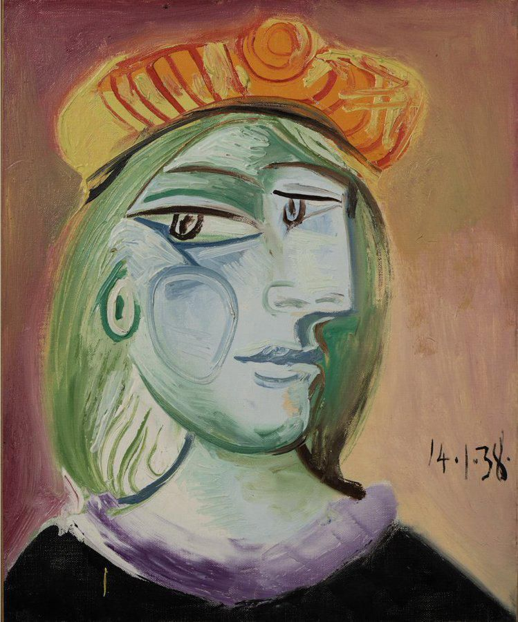 Picasso 1938-ban festett egyik utolsó munkája, a Femme au Béret Rouge-Orange múzsájáról és szerelméről, Marie-Thérese Walterről