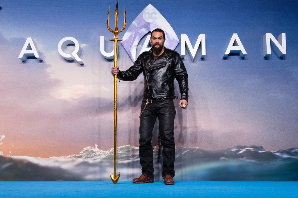 Jason Momoa az Aquaman világpremierjén 2018-ban, Londonban