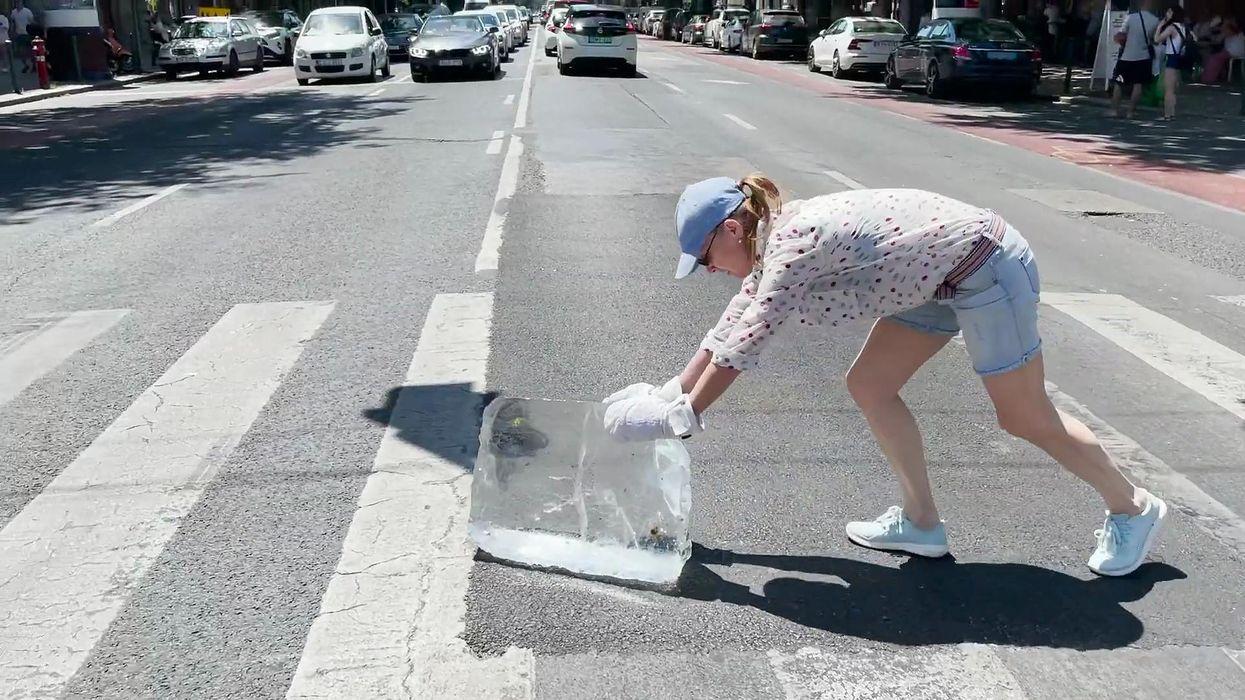 Kováts Adél egy mázsás jégtömböt tolt végig a városon