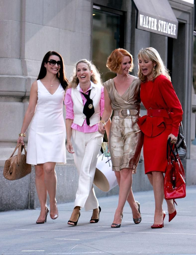Kristin Davis, Sarah Jessica Parker, Cynthia Nixon és Kim Cattrall a Szex és New York című film forgatásán 2007-ben