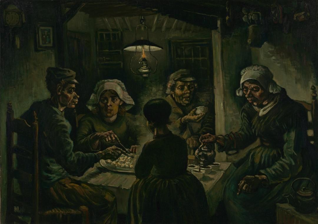 Vincent van Gogh A burgonyaevők című korai festménye